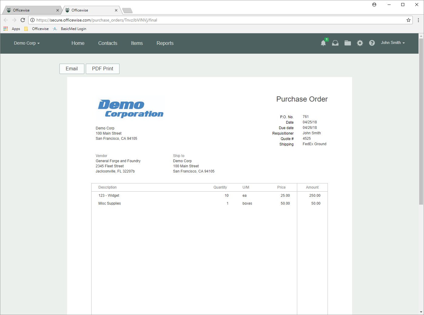 Spendwise Software - Purchase order - print preview