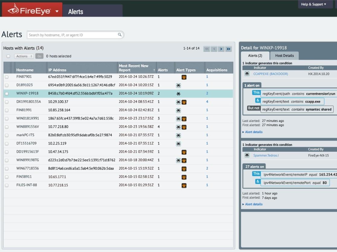 FireEye Endpoint Security alerts screenshot