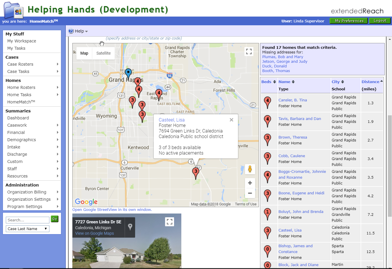 Foster homes can be viewed an filtered by geographic location, type of home, number of beds, and more
