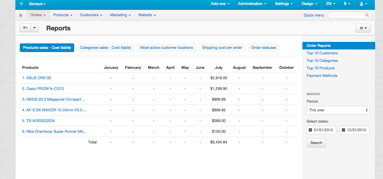 Generate sales reports with CS-Cart