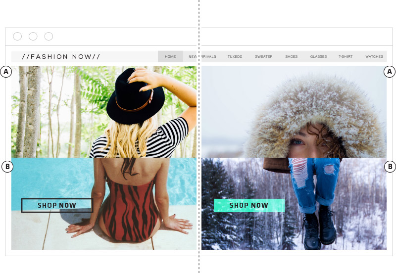 Compare the success of page designs and other visual changes with A/B testing