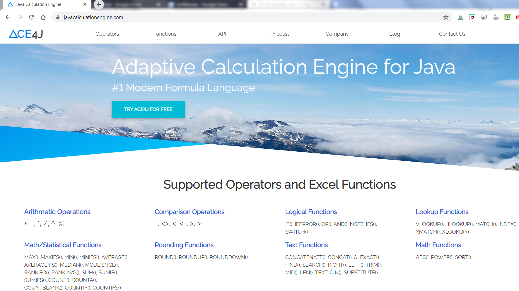 ACE4J supports 60+ Excel operators and functions including all latest functions such as XLOOKUP, XMATCH, SWITCH etc.
