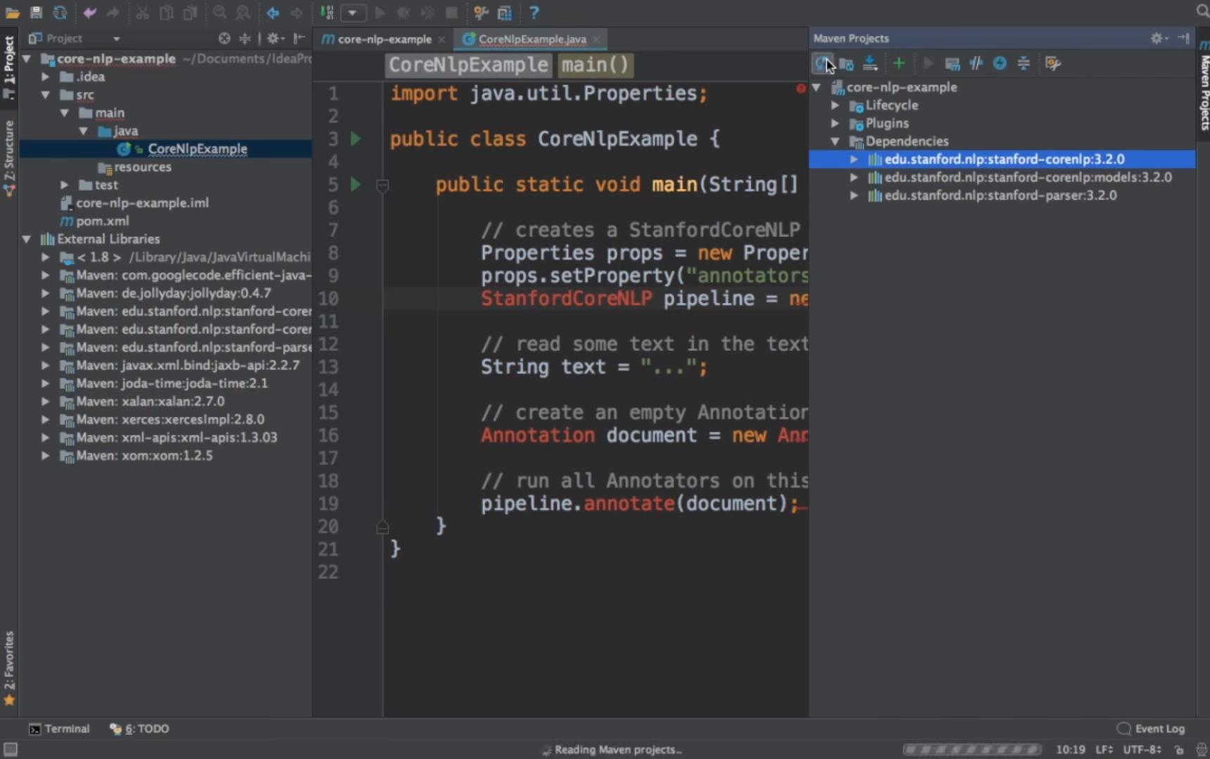 CoreNLP Software - CoreNLP example in Java