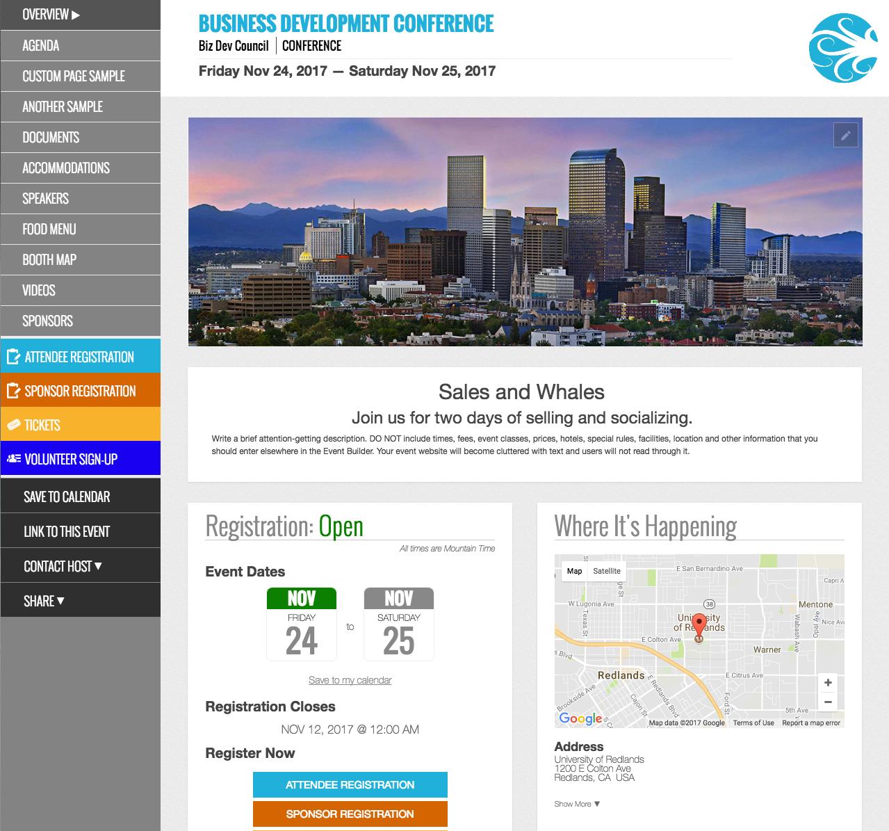 Eventsquid Software - Website creation