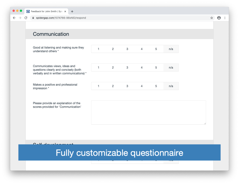 Spidergap Software - Fully customizable questionnaire