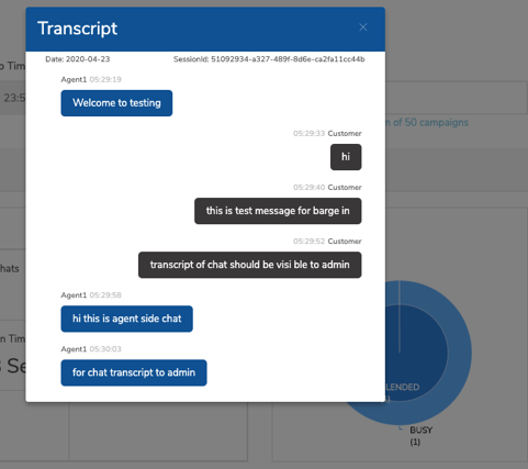CloudAgent Software - Live transcripts: real time agent customer chat