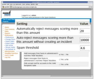 CanIt-PRO admin settings