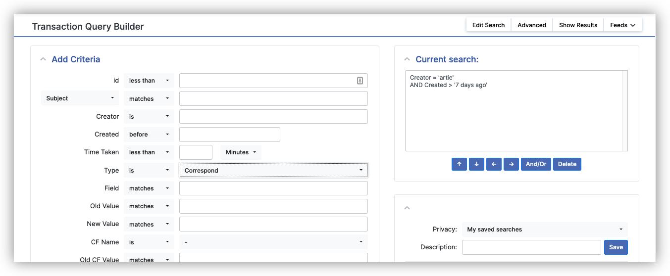 Request Tracker transaction query builder