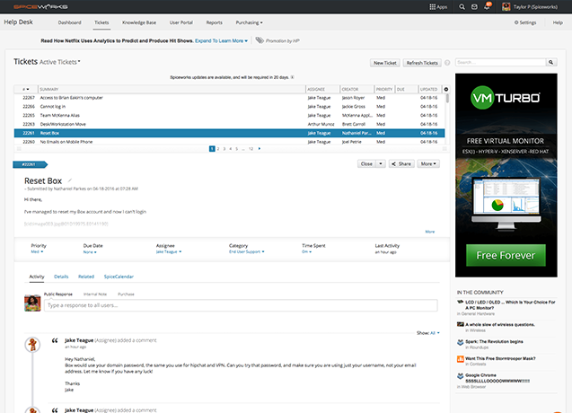 Spiceworks monitor active tickets