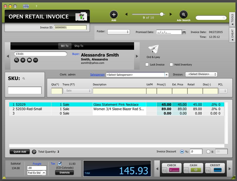 POSIM Software - Retail invoice
