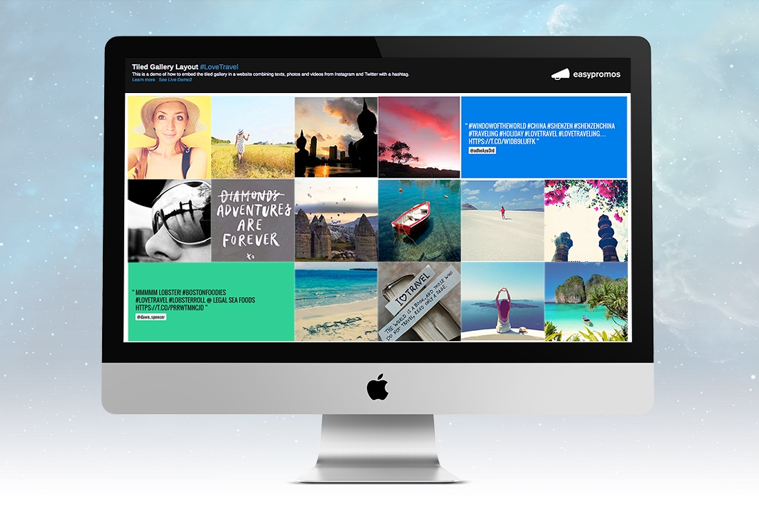 Embed and display promotions and contest galleries everywhere using widgets