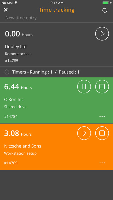 Time spent on each job can be tracked using the built-in timers