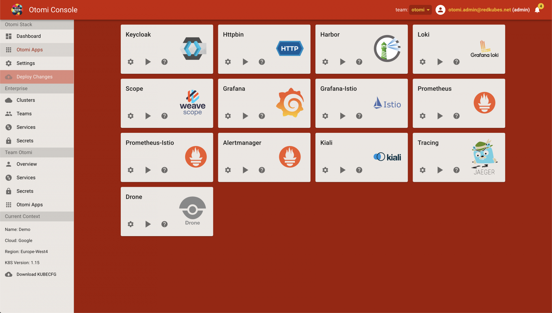 Otomi Container Platform screenshot: Otomi Container Platform deploy changes