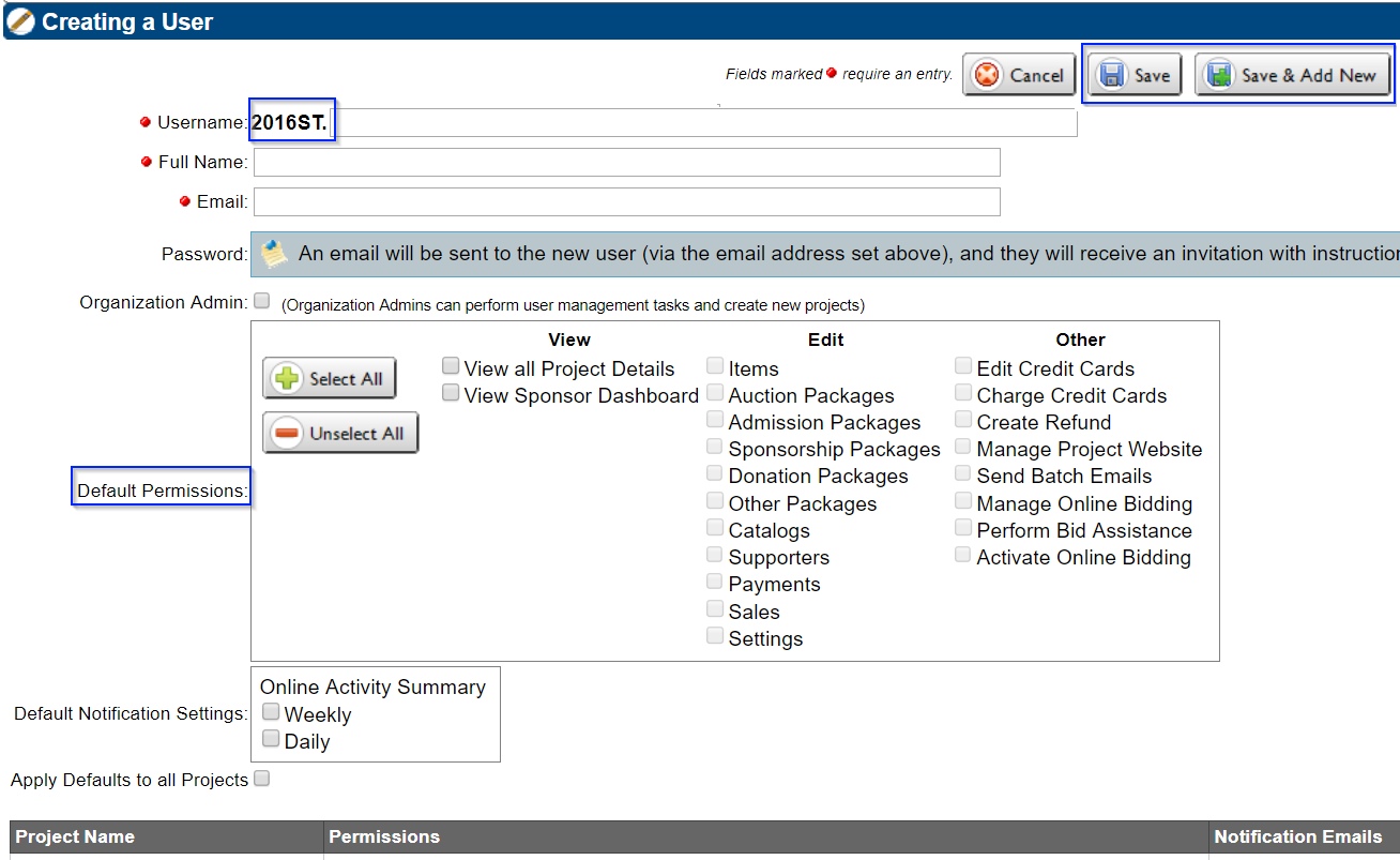 Greater Giving Event Software user account creation screenshot