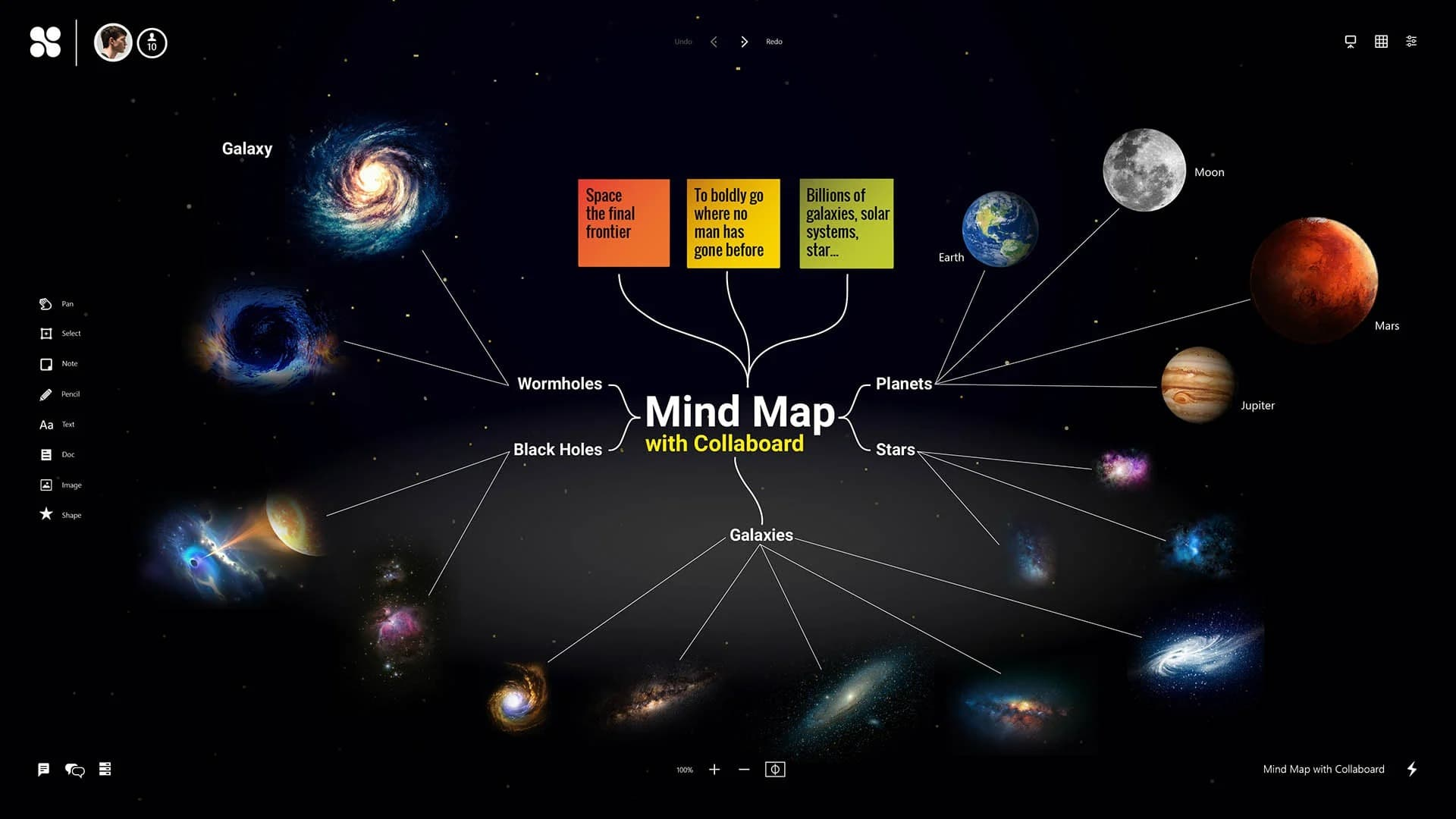 Create mind maps: Insert note cards, text, and shapes, upload images, documents, videos, and connect them. Teams can easily and creatively develop mind maps together on one board and in real-time.