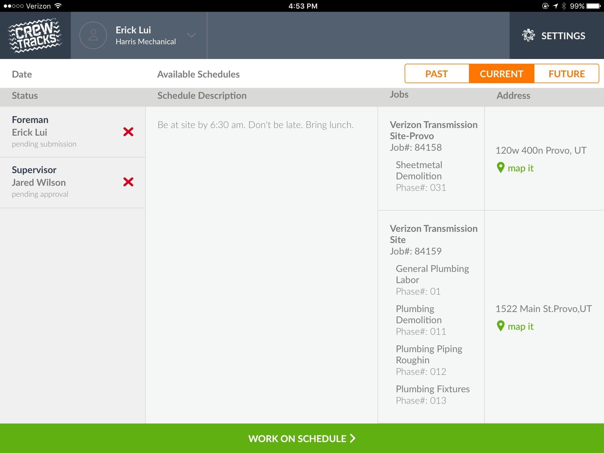 CrewTracks Software - Schedules