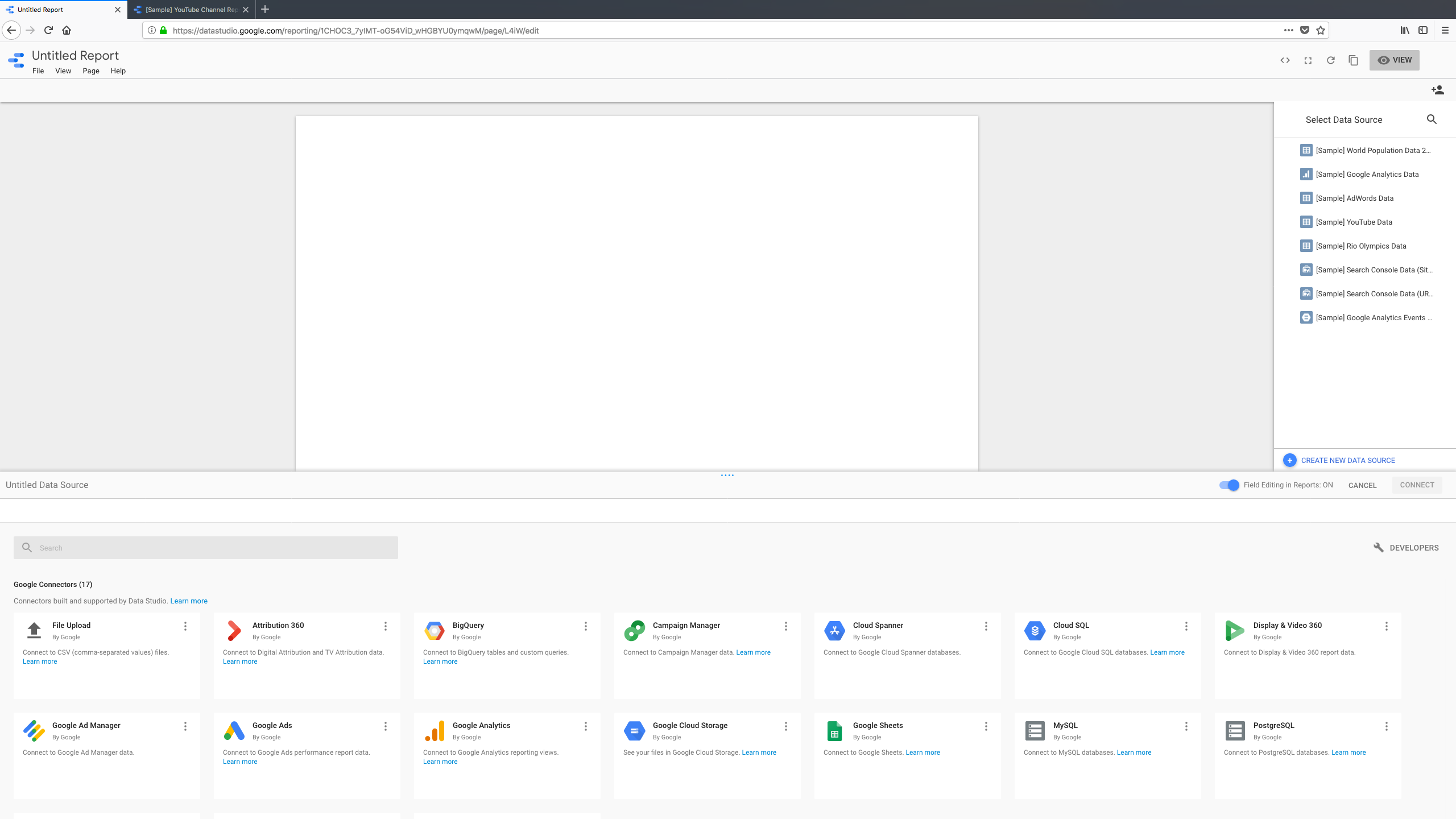 Google Data Studio Software - The drag-and-drop report editor showing the start of a new blank report and the popup panel shown below for creating a new data source to be added