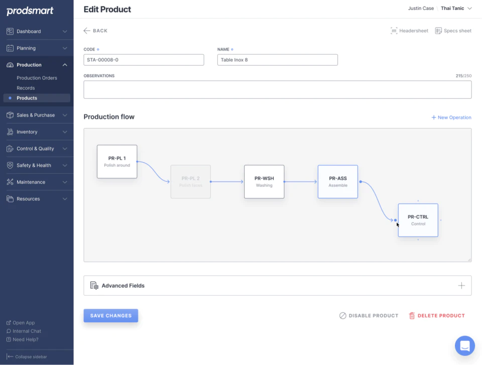 Prodsmart Software - Production Flow