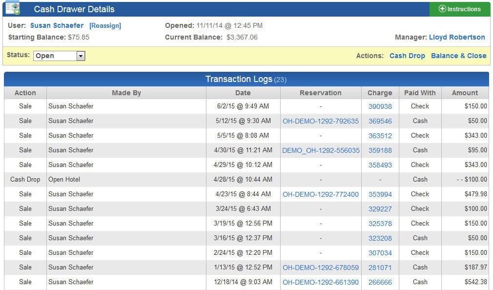 OpenHotel PMS Software - Cash drawer management