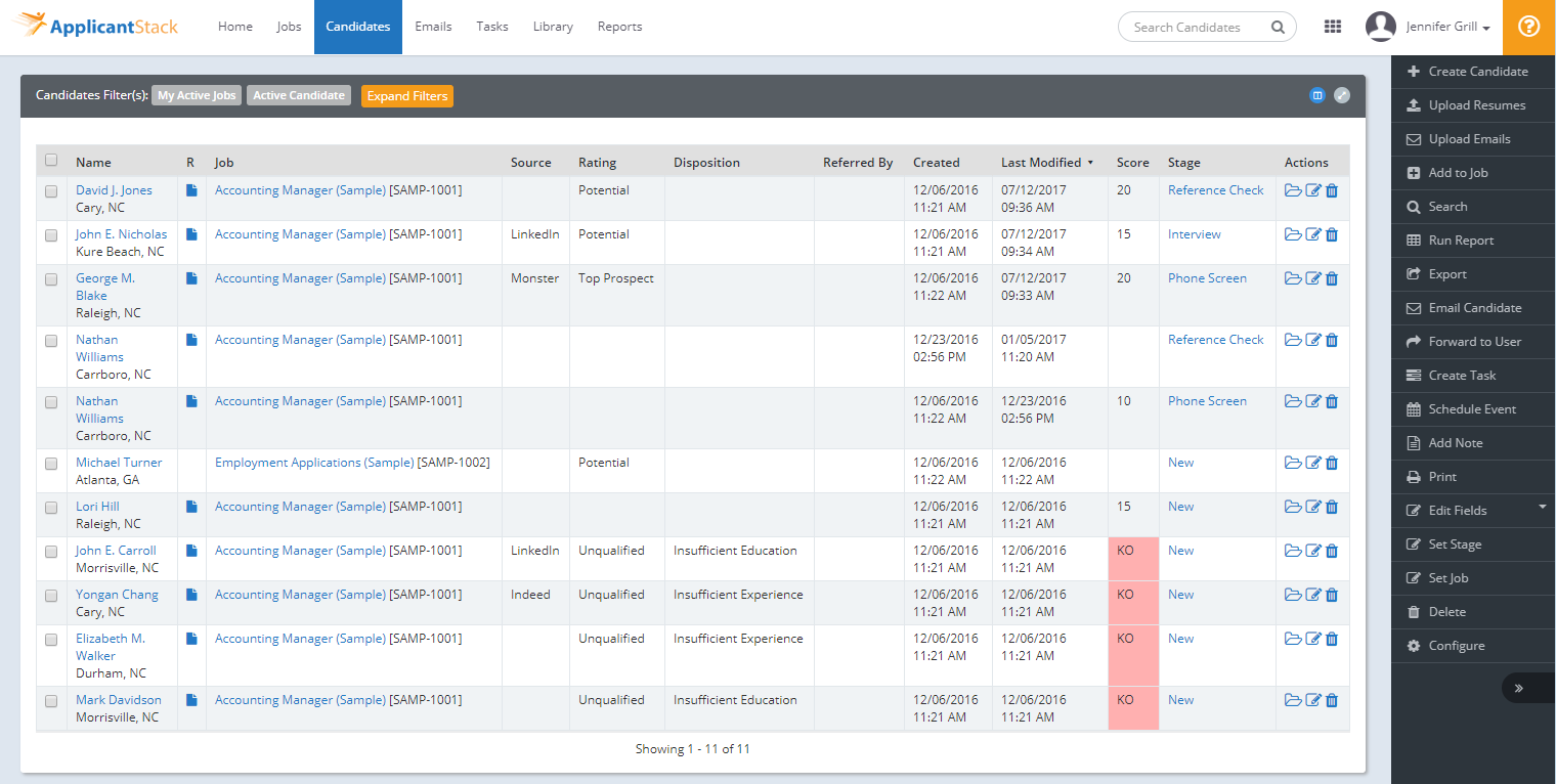 ApplicantStack Software - ApplicantStack Recruit Candidate tab shows you all of your candidates as well as the scoring so you can focus on your top scoring candidates.