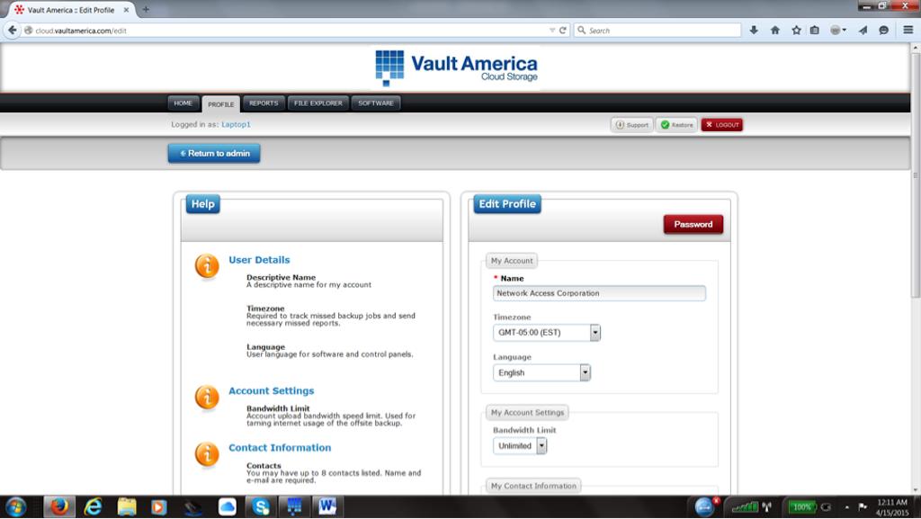 Vault America Online/ Cloud Backup Software - Profile