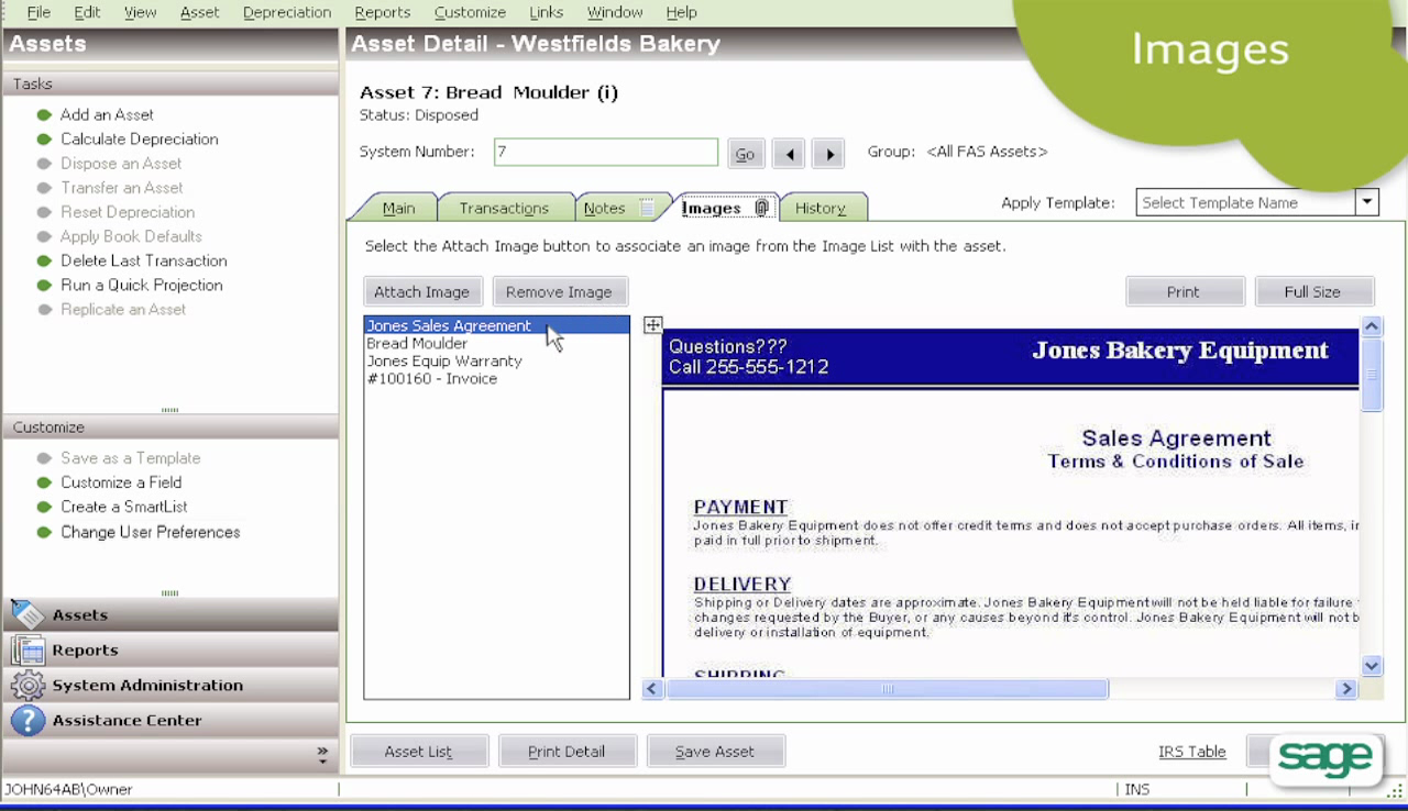 The solution provides capabilities to add supporting documents for each asset