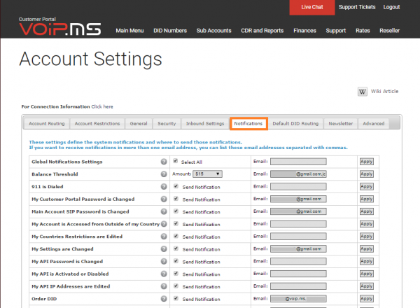 VoIP.ms screenshot: VoIP.ms account settings