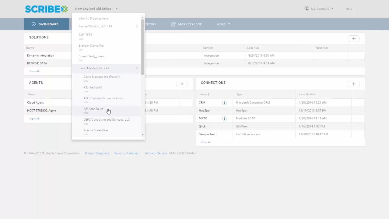 Select to view specific organizations