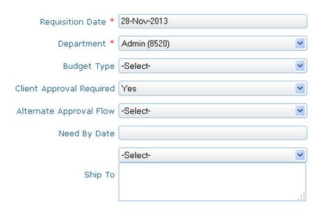 Requisition details