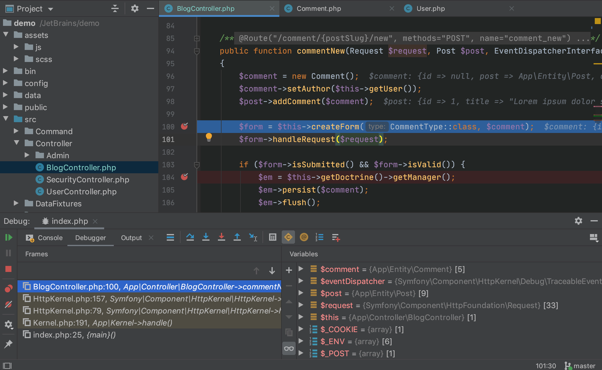 PhpStorm debug code