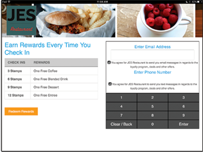 Customer rewards can be managed from a counter-based tablet app