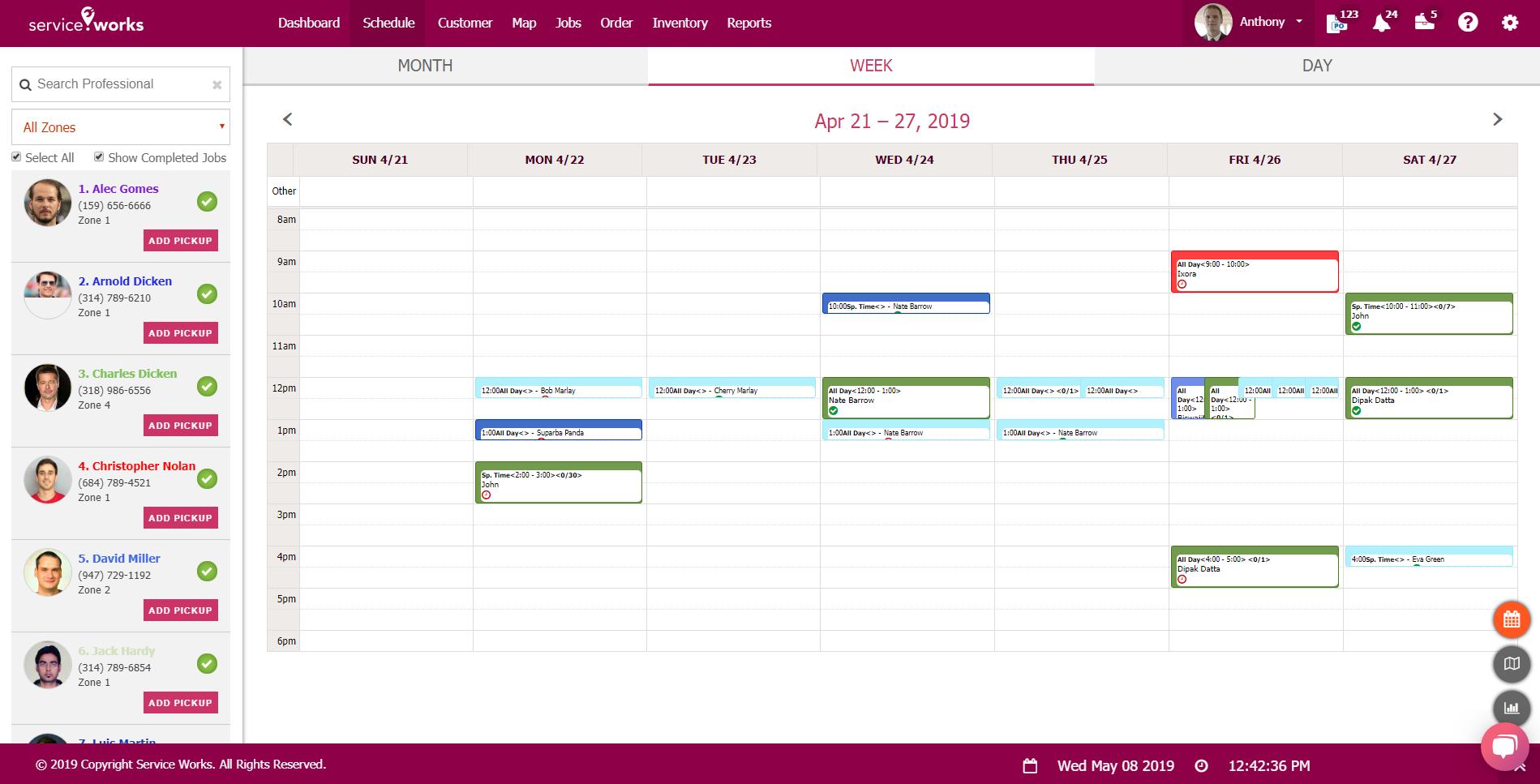 Schedule map
