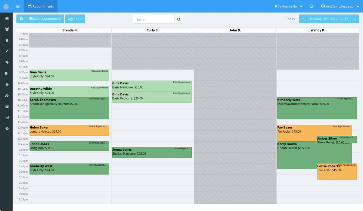 The schedules for all staff can be viewed in the SimpleSpa calendar