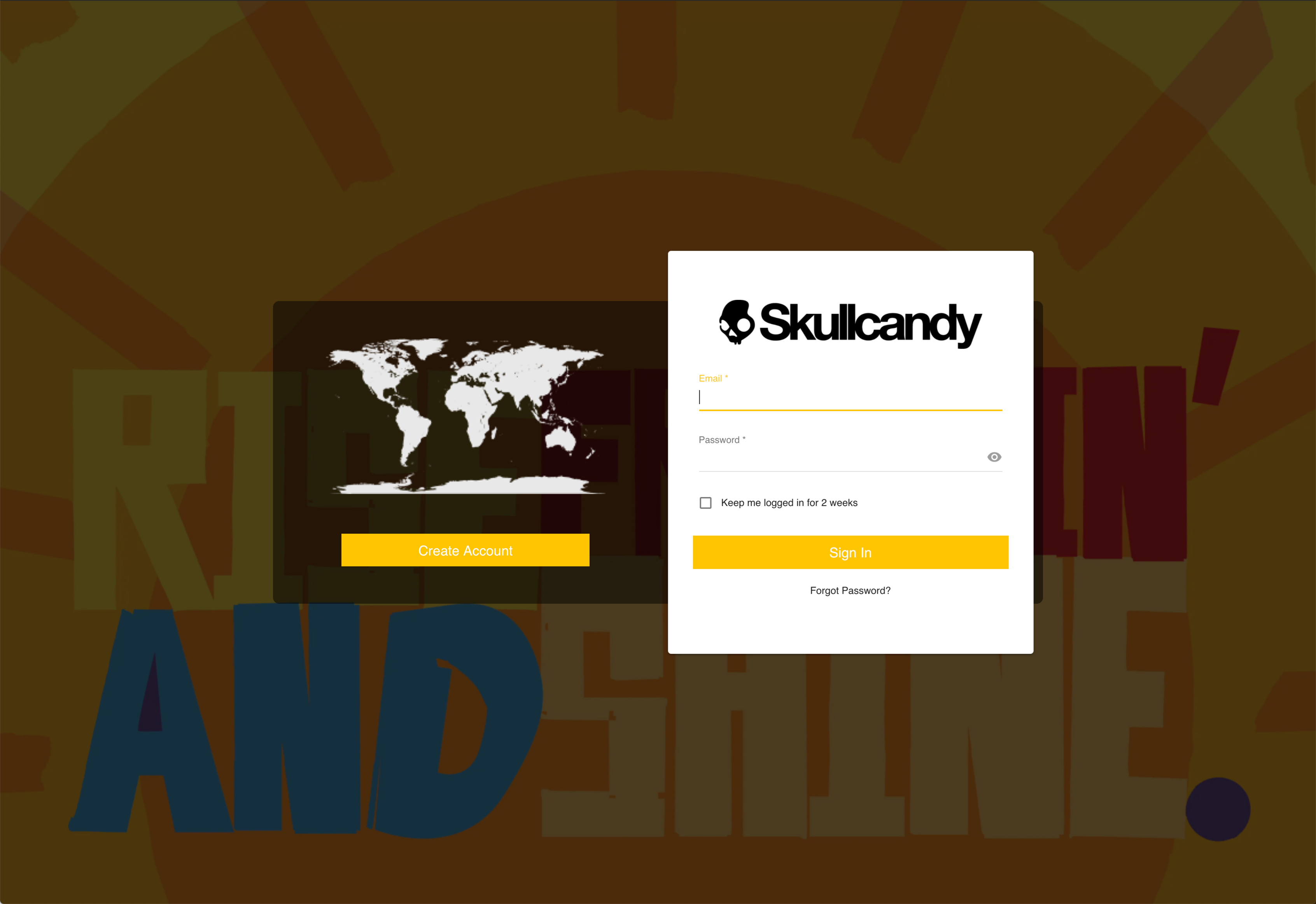 Amplifi.io screenshot: #1 - Hi. Please step through these images for a quick visual demo of our system using Skullcandy brand as our sample. We hope you enjoy!   #1 Login Page - Can use SSO from an existing company system or other B2B portal if needed.