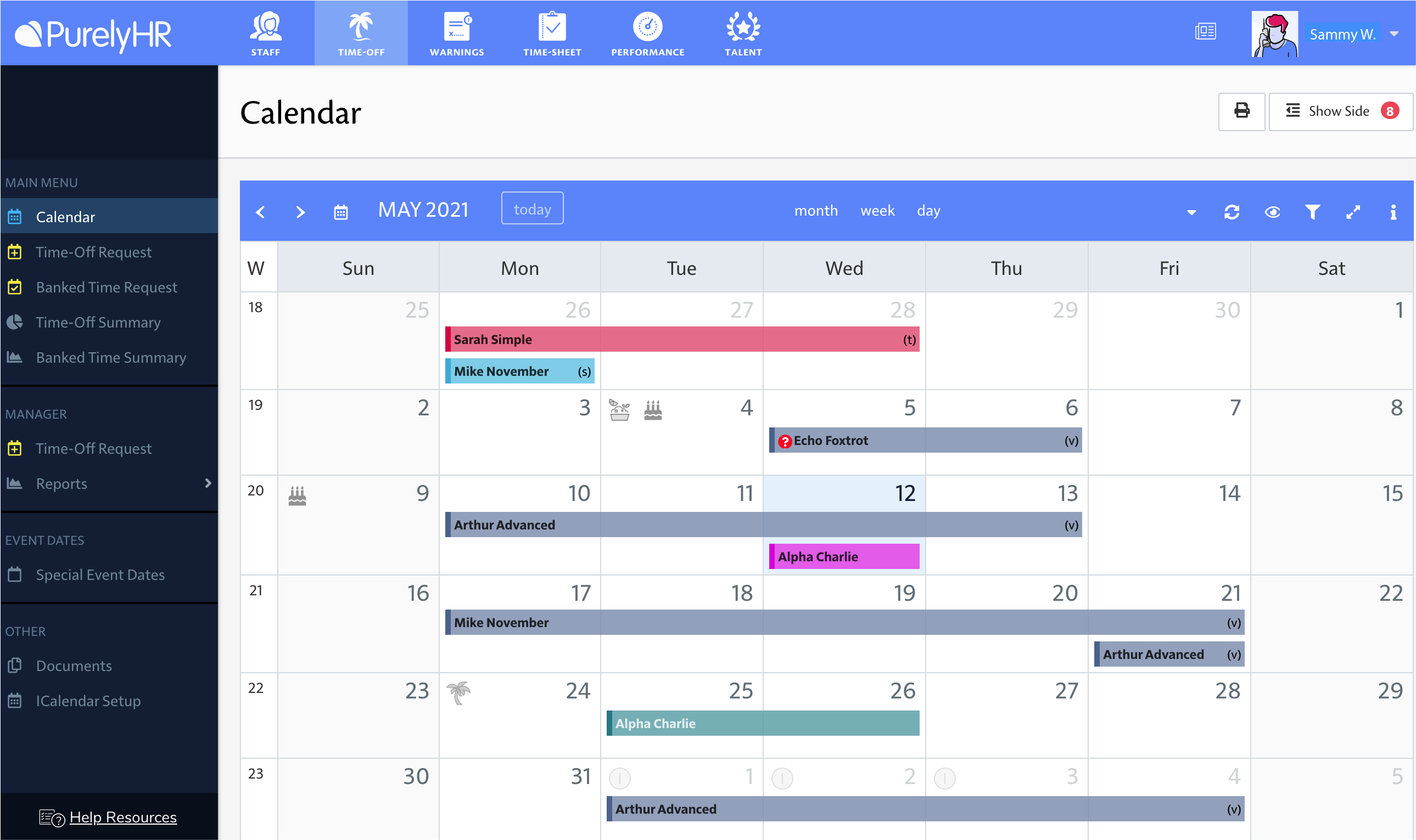 PurelyHR Software - Time-Off's shared leave calendar gives you an at-a-glance look at upcoming time-off. Calendar can also be synced with Outlook, Google, and Apple calendars.