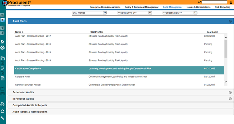 Plan and manage reports for scheduled, in process, and completed audits