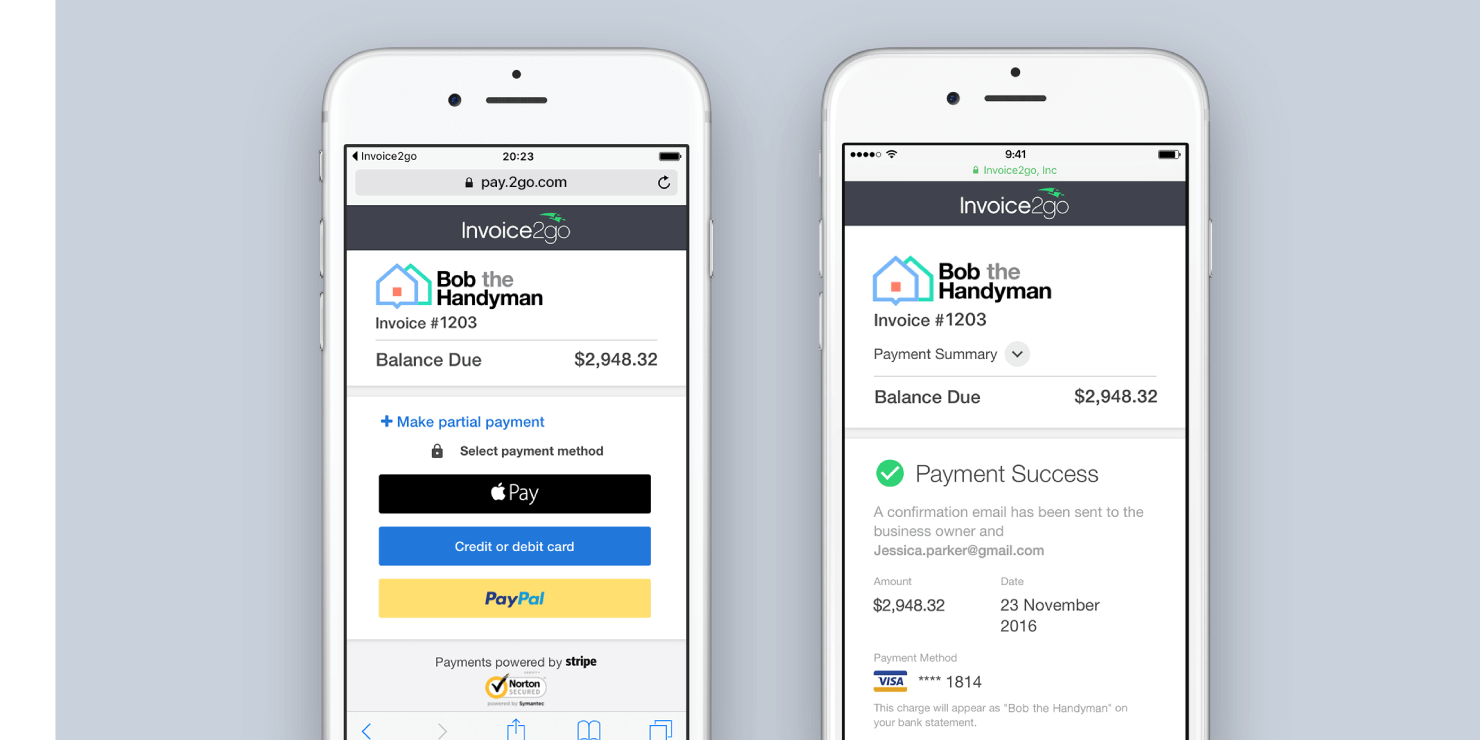 Clients have the option to pay invoices online using Apple Pay, PayPal or with debit / credit cards