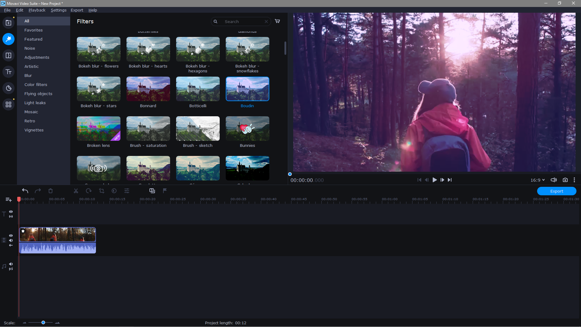 Movavi Video Editor Plus available filters