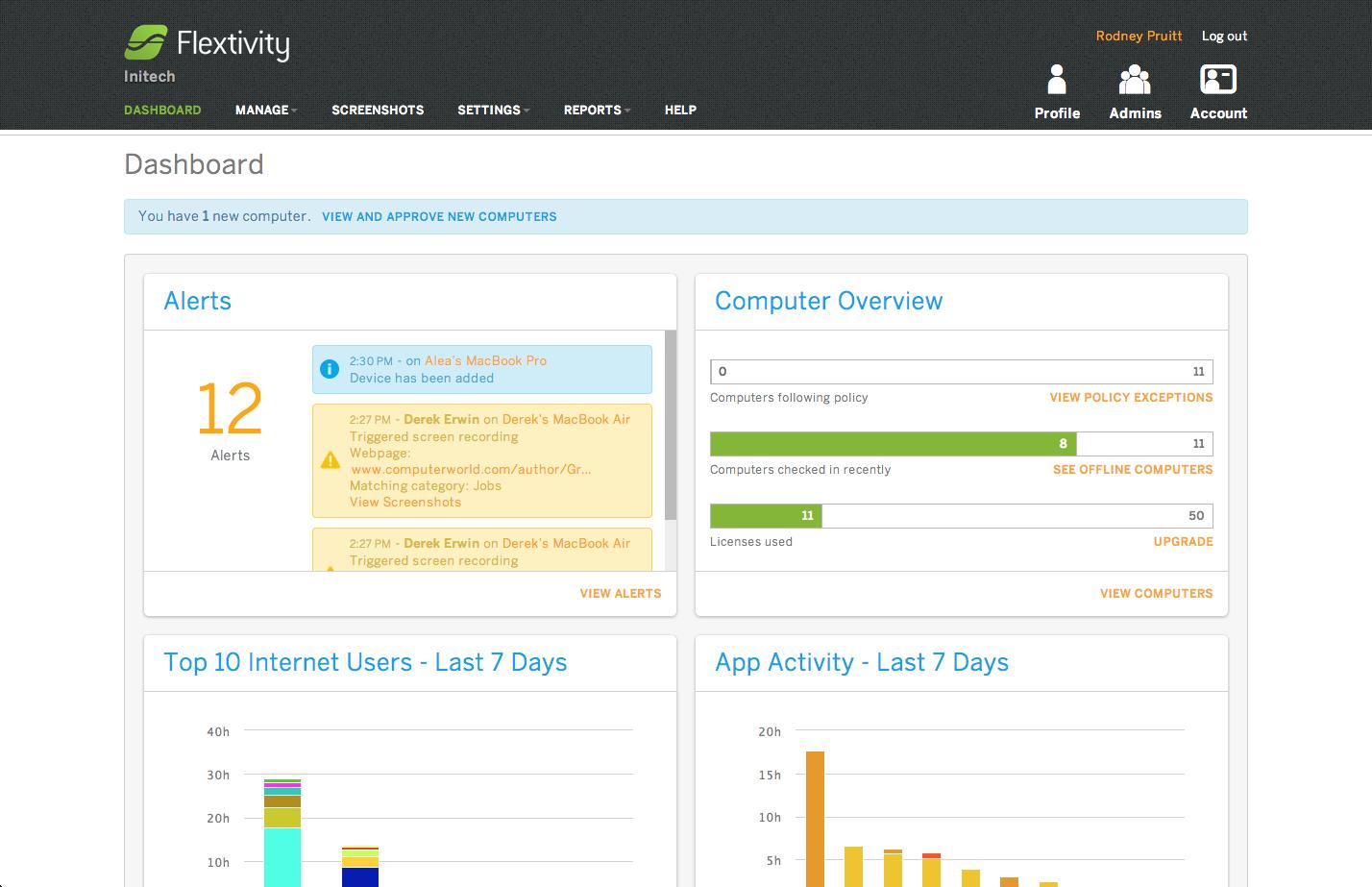 Flextivity Software - Dashboard