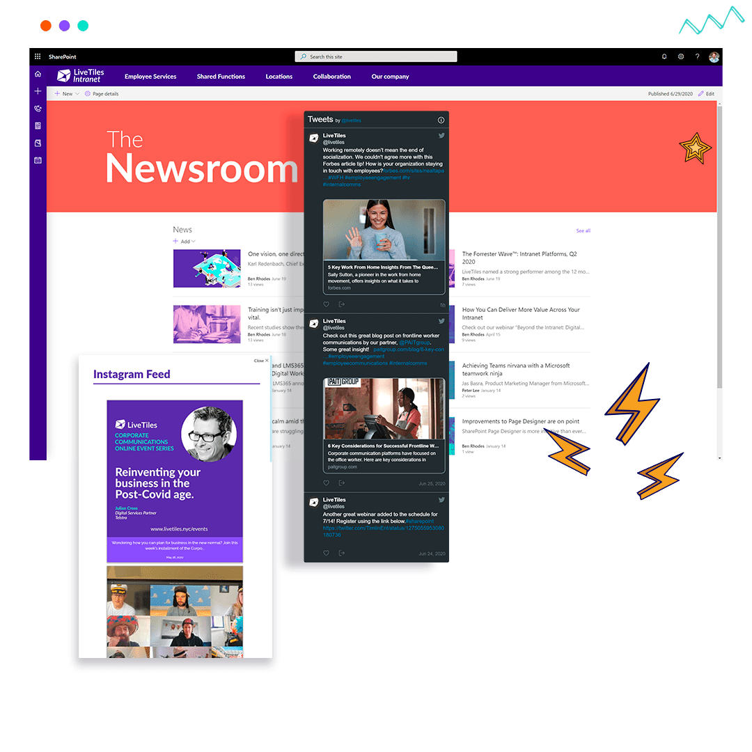 LiveTiles screenshot: LiveTiles Enterprise Intranet peer-to-peer messages, and global and local company news, the news engine is where all news and information is created and distributed in a personalized news aggregation point.
