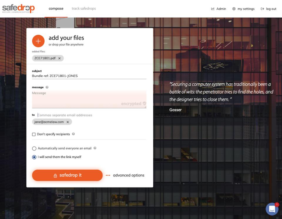 safedrop screenshot: compose interface