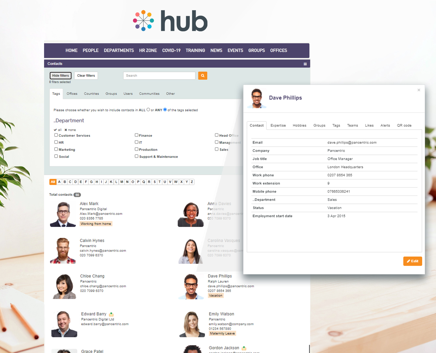 Contact Directory with built-in search functionality and custom filters, with user profiles