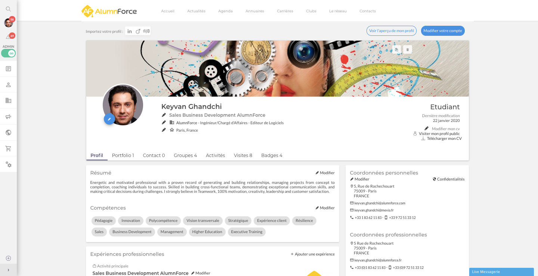 AlumnForce screenshot: AlumnForce profile pages