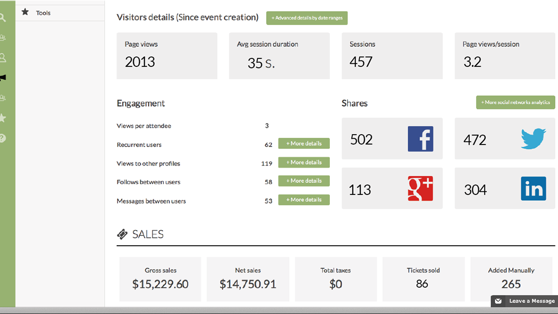 Users can view event and social media statistics