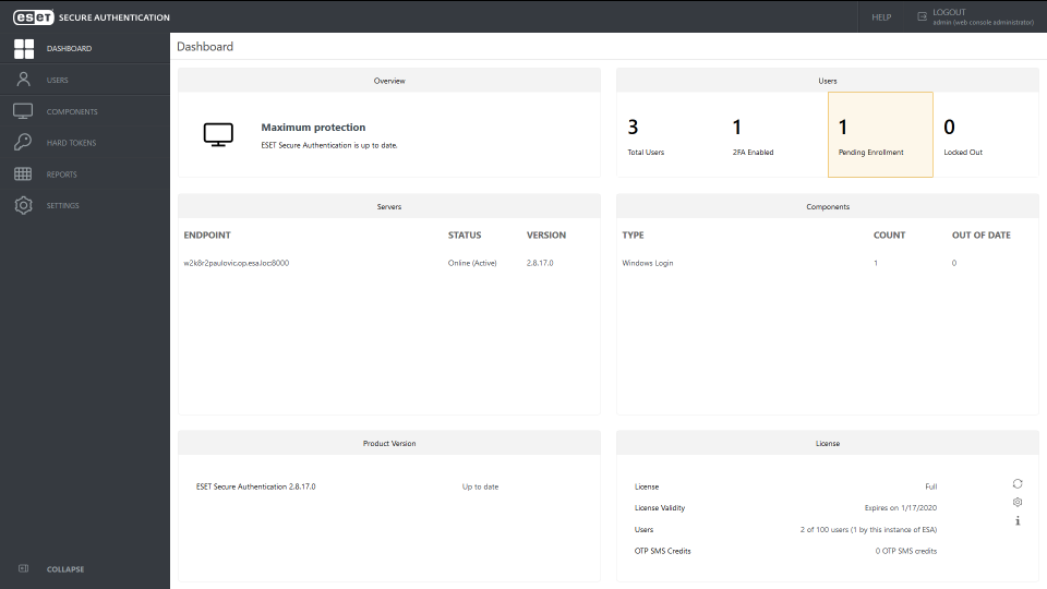 ESET Secure Authentication dashboard view