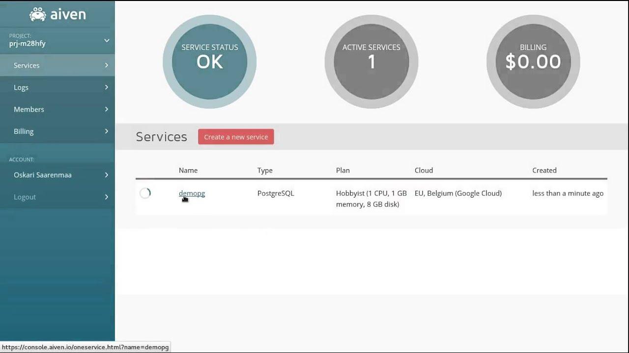 Aiven PostgreSQL database-as-a-service