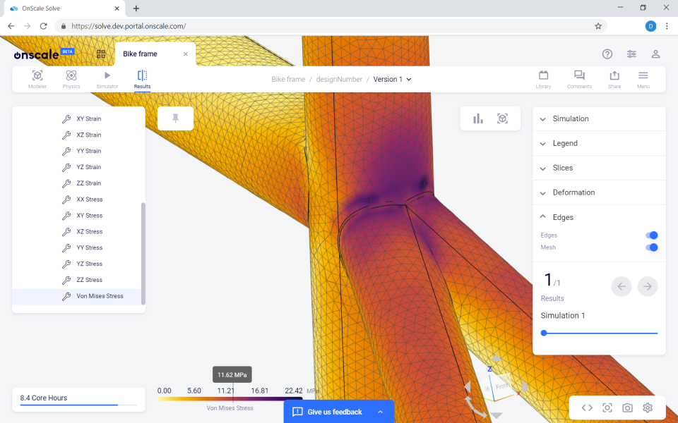 OnScale Solve simulation results