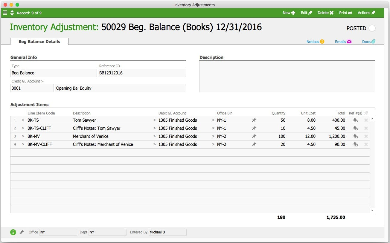 aACE Software - Inventory adjustment