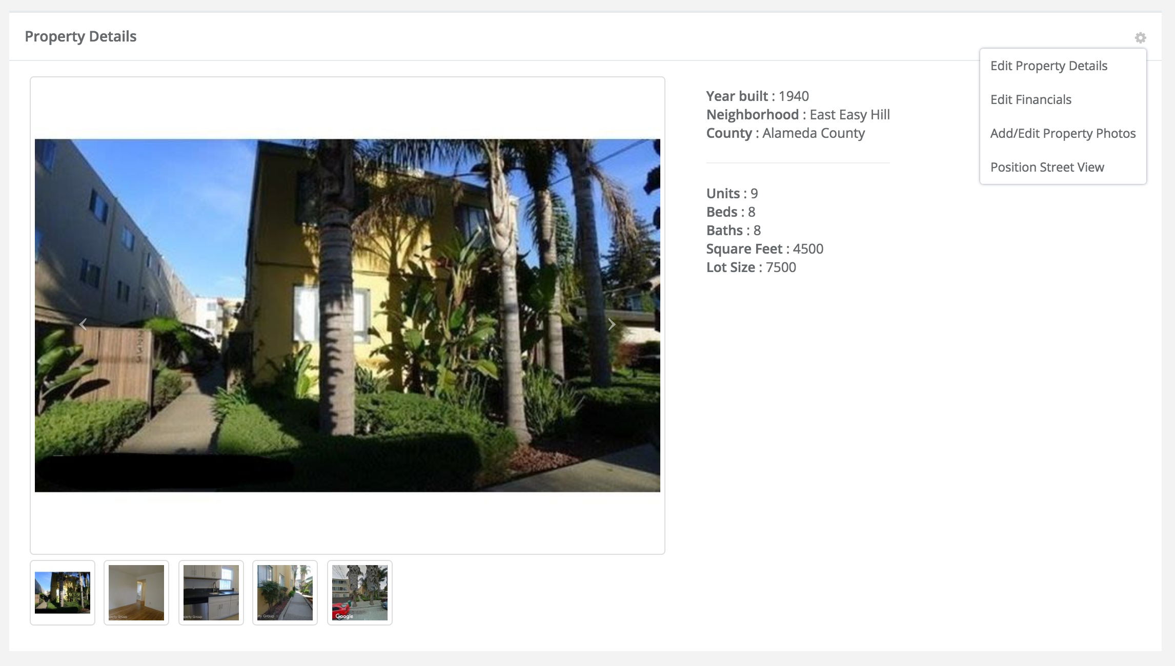 View property details, financials, and update basic property information
