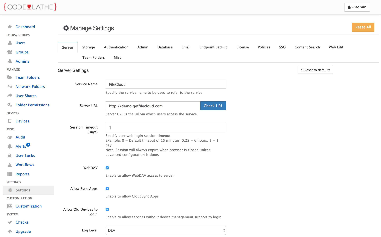 FileCloud settings